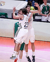 Real Madrid's Sergio Llull (l) and Nikola Mirotic celebrate during Euroleague 2012/2013 match.December 13,2012. (ALTERPHOTOS/Acero) /NortePhoto