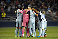 Sporting KC huddle..Sporting Kansas City defeated Montreal Impact 2-0 at Sporting Park, Kansas City, Kansas.