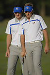 European Team players Ian Poulter and Justin Rose line up their putt on the 4th green during the Morning Foursomes on Day1 of the Ryder Cup at Valhalla Golf Club, Louisville, Kentucky, USA, 19th September 2008 (Photo by Eoin Clarke/GOLFFILE)