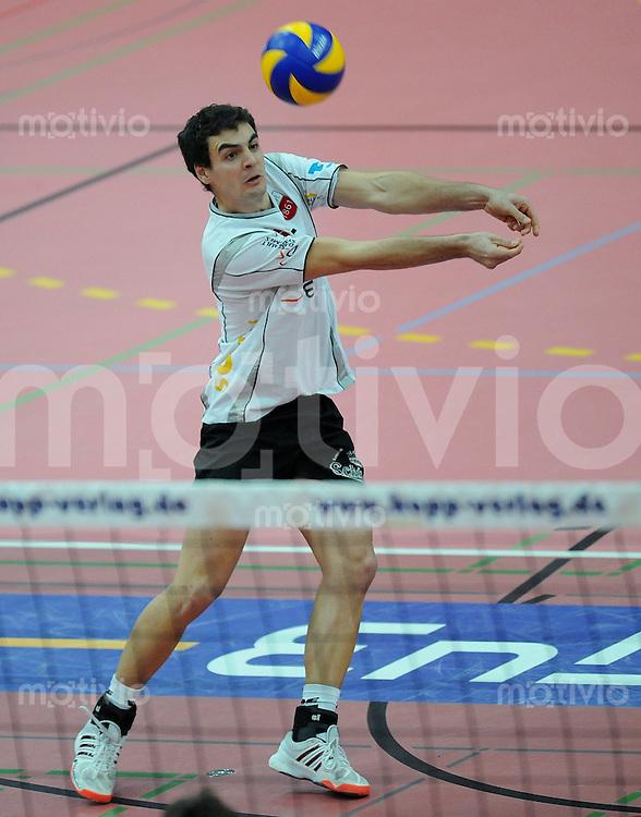 Volleyball  1. Bundesliga  2008/2009   10.01.2009 ENBW TV Rottenburg  - SCC Berlin  Willy Belizer (TV R) am Ball