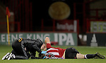 Sheffield United's Keegan Burton injury during the FA Youth Cup First Round match at Bramall Lane Stadium, Sheffield. Picture date: November 1st 2016. Pic Richard Sellers/Sportimage
