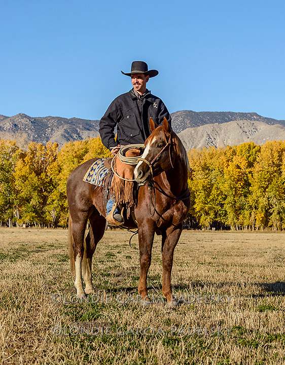 Nick Dowers horseback riding at the ranch in Dyer, Nevada