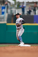 Charlotte Knights second baseman Danny Mendick (17) throws to first base during an International League game against the Rochester Red Wings on June 16, 2019 at Frontier Field in Rochester, New York.  Rochester defeated Charlotte 3-2 in the second game of a doubleheader.  (Mike Janes/Four Seam Images)