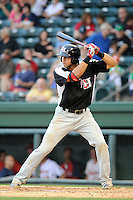 Third baseman Joey Gallo (30) of the Hickory Crawdads bats in a game against the Greenville Drive on Friday, June 7, 2013, at Fluor Field at the West End in Greenville, South Carolina. Gallo is the No. 10 prospect of the Texas Rangers, according to Baseball America and was a first-round pick (39th overall) in the 2012 First-Year Player Draft. Greenville won the resumption of this May 22 suspended game, 17-8. (Tom Priddy/Four Seam Images)