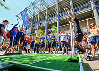 Rugby League fans play a game outside St James' Park<br /> <br /> Photographer Alex Dodd/CameraSport<br /> <br /> Betfred Super League Round 15 - Magic Weekend - Saturday 19th May 2018 - St James' Park - Newcastle<br /> <br /> World Copyright &copy; 2018 CameraSport. All rights reserved. 43 Linden Ave. Countesthorpe. Leicester. England. LE8 5PG - Tel: +44 (0) 116 277 4147 - admin@camerasport.com - www.camerasport.com
