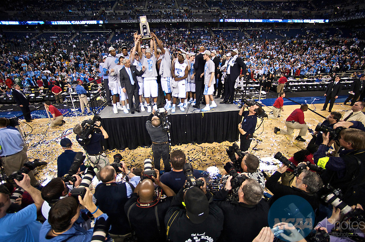 06 APR 2009: The University of North Carolina celebrate their victory during the final game of the 2009 NCAA Final Four Division I Men's Basketball championships held at Ford Field in Detroit, MI. North Carolina defeated Michigan State 89-72 to win the national title. Stephen Nowland/NCAA Photos