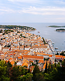 Croatia, Hvar, Dalmatian Coast, Island, high angle view of the town of Hvar.
