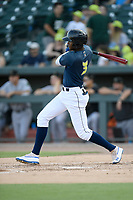 Shortstop Shervyen Newton (3) of the Columbia Fireflies bats in a game against the Augusta GreenJackets on Saturday, June 1, 2019, at Segra Park in Columbia, South Carolina. Columbia won, 3-2. (Tom Priddy/Four Seam Images)