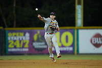Johnson City Cardinals shortstop Mateo Gil (23) makes a throw to first base against the Burlington Royals at Burlington Athletic Stadium on September 4, 2019 in Burlington, North Carolina. The Cardinals defeated the Royals 8-6 to win the 2019 Appalachian League Championship. (Brian Westerholt/Four Seam Images)