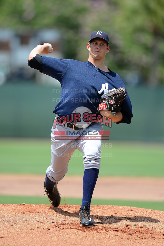 GCL Yankees 2 pitcher Joseph Maher (52) during a game against the GCL Phillies on July 22, 2013 at Carpenter Complex in Clearwater, Florida.  GCL Yankees defeated the GCL Phillies 2-1.  (Mike Janes/Four Seam Images)