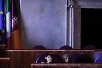 Roma, 10 Agosto 2016<br /> La sindaca Virginia Raggi e l'assessora all'ambiente Paola Muraro.<br /> Campidoglio.<br /> Consiglio Comunale straordinario su AMA, rifiuti e le consulenze dell'assessora  all'ambiente