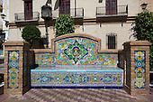 Tiled bench in La Laguna, central square in Ayamonte, Spain
