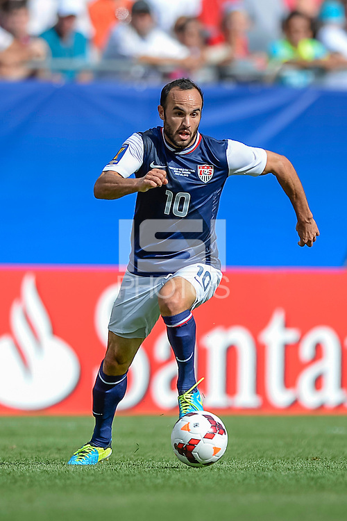 Chicago, IL - Sunday July 28, 2013:   USMNT forward Landon Donovan (10) during the CONCACAF Gold Cup Finals soccer match between the USMNT and Panama, at Soldier Field in Chicago, IL.