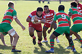 Timote Asilooks to attack the hole in the Waiuku defensive line. Counties Manukau Premier 1 Club Rugby game between Karaka and Waiuku, played at the Karaka Sports Park on Saturday May 11th 2019. Karaka won the game 33 - 14 after leading 14 - 7 at halftime.<br /> Photo by Richard Spranger.