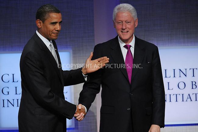 WWW.ACEPIXS.COM . . . . . ....September 22 2009, New York City....U.S. President Barack Obama and former President Bill Clinton at the Clinton Global Initiative at the Sheraton Hote on September 22, 2009 in New York City....Please byline: KRISTIN CALLAHAN - ACEPIXS.COM.. . . . . . ..Ace Pictures, Inc:  ..tel: (212) 243 8787 or (646) 769 0430..e-mail: info@acepixs.com..web: http://www.acepixs.com