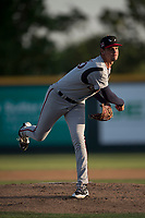Lake Elsinore Storm starting pitcher Michel Baez (26) follows through on his delivery during a California League game against the Modesto Nuts at John Thurman Field on May 11, 2018 in Modesto, California. Modesto defeated Lake Elsinore 3-1. (Zachary Lucy/Four Seam Images)