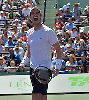 KEY BISCAYNE, FL - APRIL 03: Andy Murray of Great Britain defeatsTomas Berdych of the Czech Republic in their semi-final match during the Miami Open at Crandon Park Tennis Center on April 3, 2015 in Key Biscayne, Florida<br /> <br /> <br /> People:  Andy Murray<br /> <br /> Transmission Ref:  FLXX<br /> <br /> Must call if interested<br /> Michael Storms<br /> Storms Media Group Inc.<br /> 305-632-3400 - Cell<br /> 305-513-5783 - Fax<br /> MikeStorm@aol.com