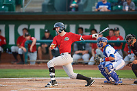 Romy Gonzalez (5) of the Great Falls Voyagers bats against the Ogden Raptors at Lindquist Field on August 22, 2018 in Ogden, Utah. Great Falls defeated Ogden 3-1. (Stephen Smith/Four Seam Images)