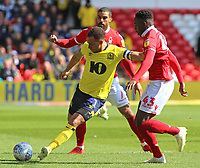 Blackburn Rovers' Elliott Bennett holds off the challenge from Nottingham Forest's Arvin Appiah<br /> <br /> Photographer David Shipman/CameraSport<br /> <br /> The EFL Sky Bet Championship - Nottingham Forest v Blackburn Rovers - Saturday 13th April 2019 - The City Ground - Nottingham<br /> <br /> World Copyright © 2019 CameraSport. All rights reserved. 43 Linden Ave. Countesthorpe. Leicester. England. LE8 5PG - Tel: +44 (0) 116 277 4147 - admin@camerasport.com - www.camerasport.com