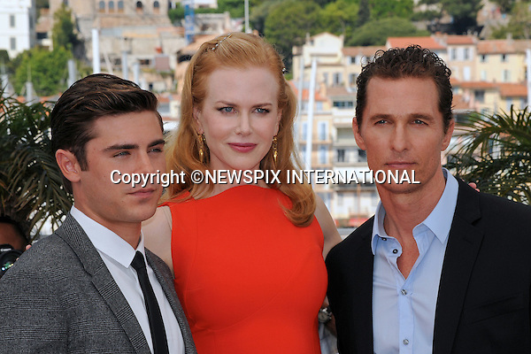 "Cannes,24.05.2012: NICOLE KIDMAN FASHION FAUX-PAS.During ""The Paperboy"" photocall at the 65th Cannes International Film Festival, Kidman committed a fashion faux by exposing her bra strap..Kidman is prctured with Mathew McConaughey and Zac Efron..Mandatory Credit Photos: ©Traverso-Photofile/NEWSPIX INTERNATIONAL..**ALL FEES PAYABLE TO: ""NEWSPIX INTERNATIONAL""**..PHOTO CREDIT MANDATORY!!: NEWSPIX INTERNATIONAL(Failure to credit will incur a surcharge of 100% of reproduction fees)..IMMEDIATE CONFIRMATION OF USAGE REQUIRED:.Newspix International, 31 Chinnery Hill, Bishop's Stortford, ENGLAND CM23 3PS.Tel:+441279 324672  ; Fax: +441279656877.Mobile:  0777568 1153.e-mail: info@newspixinternational.co.uk"