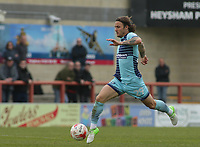 Sam Saunders of Wycombe Wanderers during the Sky Bet League 2 match between Morecambe and Wycombe Wanderers at the Globe Arena, Morecambe, England on 29 April 2017. Photo by Stephen Gaunt / PRiME Media Images.