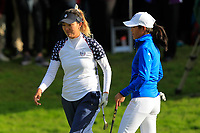 Annie Park (USA) and Celine Boutier (EUR) on the 17th green during Day 3 Singles at the Solheim Cup 2019, Gleneagles Golf CLub, Auchterarder, Perthshire, Scotland. 15/09/2019.<br /> Picture Thos Caffrey / Golffile.ie<br /> <br /> All photo usage must carry mandatory copyright credit (© Golffile | Thos Caffrey)