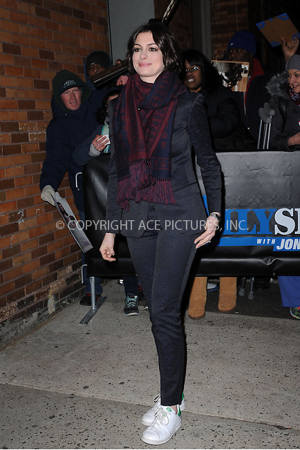 WWW.ACEPIXS.COM<br /> January 21, 2015 New York City<br /> <br /> Anne Hathaway arriving to tape an appearance on the The Daily Show with Jon Stewart on January 21, 2015 in New York City.<br /> <br /> Please byline: Kristin Callahan/AcePictures<br /> <br /> ACEPIXS.COM<br /> <br /> Tel: 646 769 0430<br /> e-mail: info@acepixs.com<br /> web: http://www.acepixs.com