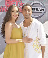 LOS ANGELES, CA - JUNE 26: Brandon T. Jackson, Denise Xavier at the 2016 BET Awards at the Microsoft Theater on June 26, 2016 in Los Angeles, California. Credit: Koi Sojer/MediaPunch