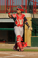 Peoria Chiefs Jose Godoy (27) signals two outs during the Midwest League game against the Burlington Bees at Community Field on June 9, 2016 in Burlington, Iowa.  Peoria won 6-4.  (Dennis Hubbard/Four Seam Images)