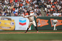 SAN FRANCISCO, CA - APRIL 27:  Evan Longoria #10 of the San Francisco Giants makes a play at third base against the New York Yankees during the game at Oracle Park on Saturday, April 27, 2019 in San Francisco, California. (Photo by Brad Mangin)