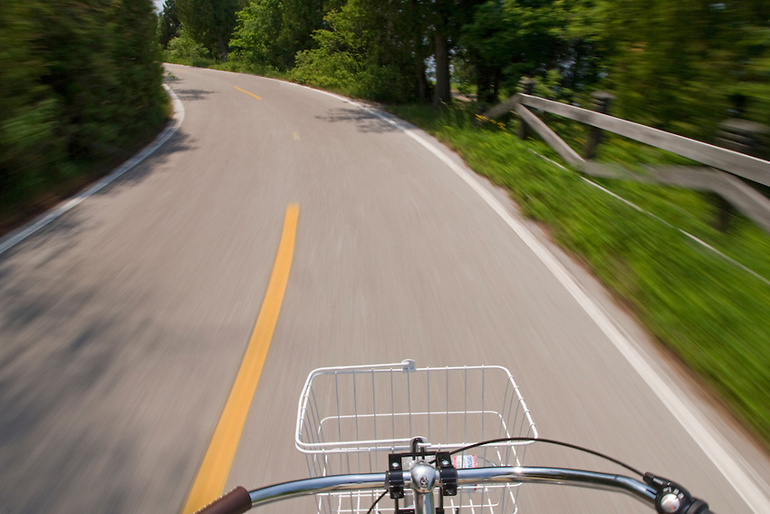 First person view of biking around Mackinac Island in Michigan.