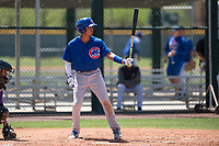 Chicago Cubs designated hitter Luis Verdugo (17) at bat during an Extended Spring Training game against the Colorado Rockies at Sloan Park on April 17, 2018 in Mesa, Arizona. (Zachary Lucy/Four Seam Images)