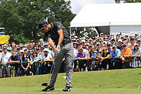Rickie Fowler (USA) tees off the 1st tee to start Saturday's Round 3 of the 2017 PGA Championship held at Quail Hollow Golf Club, Charlotte, North Carolina, USA. 12th August 2017.<br /> Picture: Eoin Clarke | Golffile<br /> <br /> <br /> All photos usage must carry mandatory copyright credit (&copy; Golffile | Eoin Clarke)