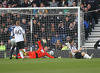 Derby County's Chris Martin scores his sides second goal  beating Blackburn Rovers Christian Walton <br /> <br /> Photographer Mick Walker/CameraSport<br /> <br /> The EFL Sky Bet Championship - Derby County v Blackburn Rovers - Sunday 8th March 2020  - Pride Park - Derby<br /> <br /> World Copyright © 2020 CameraSport. All rights reserved. 43 Linden Ave. Countesthorpe. Leicester. England. LE8 5PG - Tel: +44 (0) 116 277 4147 - admin@camerasport.com - www.camerasport.com