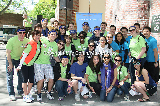 Columbia University students are joined by As The World Turns' Colleen Zenk Pinter (orange) is the national spokesperson for heightened public awareness of oral cancer attends and is the speaker at the 5th Annual Oral Cancer Walk on April 23, 2010 at Jackie Robinson Park, Harlem, New York. (Photo by Sue Coflin/Max Photos)