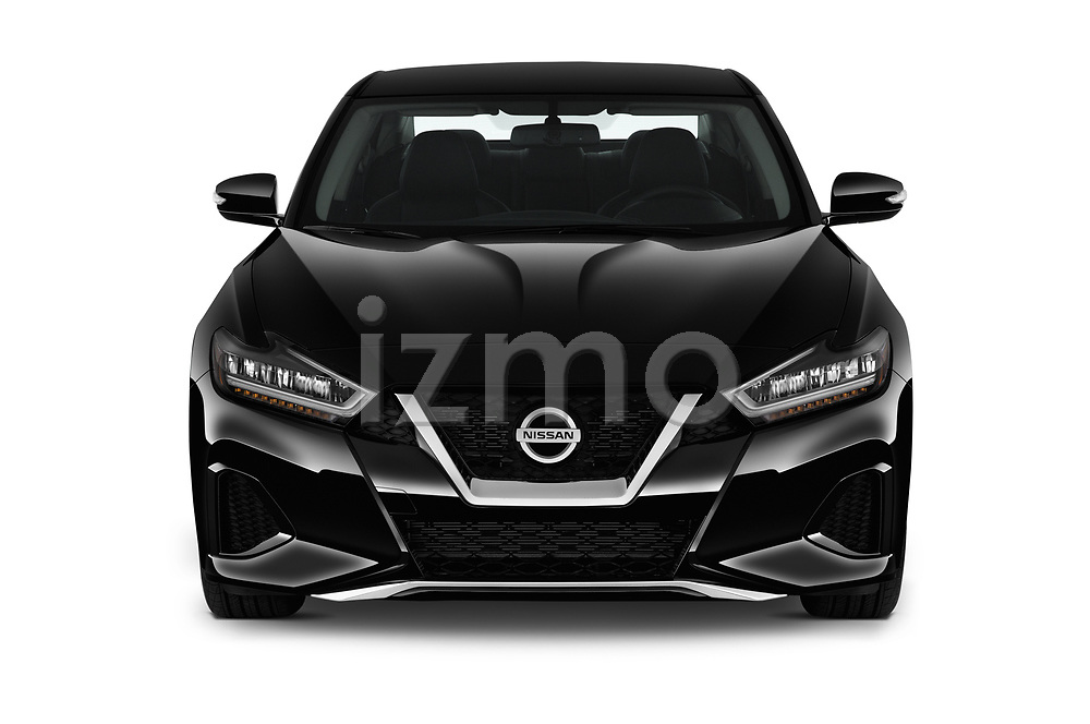 Car photography straight front view of a 2019 Nissan Maxima SV 4 Door Sedan Front View