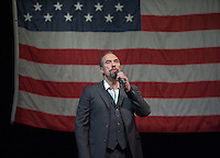 """Roger Guenveur Smith '77 performs """"Frederick Douglas Now"""" in Keck Theater at Occidental College in Los Angeles on Sunday, January 30, 2011. Smith had performed a version of the play as his senior honors project at Oxy. The award-winning actor, playwright, and director is the 2011 G. William Hume Fellow in the Performing Arts. (Photo by Marc Campos, Occidental College Photographer)"""