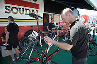 Lotto-Soudal mechanic Geert Rombauts putting a last shine on Tim Wellens' bike before the stage<br /> <br /> stage 15 (iTT): Castelrotto-Alpe di Siusi 10.8km<br /> 99th Giro d'Italia 2016