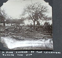 BNPS.co.uk (01202 558833)<br /> Pic: Tooveys/BNPS<br /> <br /> Incredibly rare 'action' shots from the Great War come to light...<br /> <br /> The harrowing photos, taken in the middle of an Allied offensive, show soldiers charging into action and bodies strewn on the battlefield.<br /> <br /> The dramatic photos were taken during fierce fighting with the Germans on the Western Front in late 1914.<br /> <br /> The images appear to show a more fluid and fast moving stage of the conflict before both sides became bogged down in the relentless trench warfare of later years.<br /> <br /> One captures the 'Leicester's suprising the Hun' showing the regiment in full flight as they launch a surprise attack on their German adversaries.