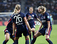 Football, Uefa Women's Champions League Final, VfL Wolfsburg - Olympique Lyonnais, Valeriy Lobanovskyi Stadium in Kiev on May 24, 2018.<br /> Olympique Lyonnais' Amandine Henry celebrates after scoring with her teammates during the Uefa Women's Champions League Final between  VfL Wolfsburg and Olympique Lyonnais, at the Valeriy Lobanovskyi Stadium in Kiev, on May 24, 2018.<br /> UPDATE IMAGES PRESS/Isabella Bonotto