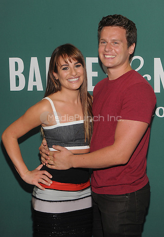 """New York, NY- May 21: Actress and singer Lea Michele and Jonathan Groff attends a book signing for her new book """"Brunette Ambition""""  on May 21, 2014 at Barnes and Noble Union Square in New York City. Credit: John Palmer/MediaPunch"""