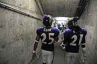 Sep. 20, 2009; San Diego, CA, USA; Baltimore Ravens cornerback (25) Chris Carr and cornerback (21) Lardarius Webb against the San Diego Chargers at Qualcomm Stadium in San Diego. Baltimore defeated San Diego 31-26. Mandatory Credit: Mark J. Rebilas-