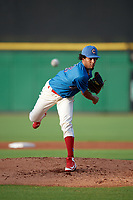 Clearwater Threshers starting pitcher Adonis Medina (18) delivers a pitch during a game against the Fort Myers Miracle on May 31, 2018 at Spectrum Field in Clearwater, Florida.  Clearwater defeated Fort Myers 5-1.  (Mike Janes/Four Seam Images)