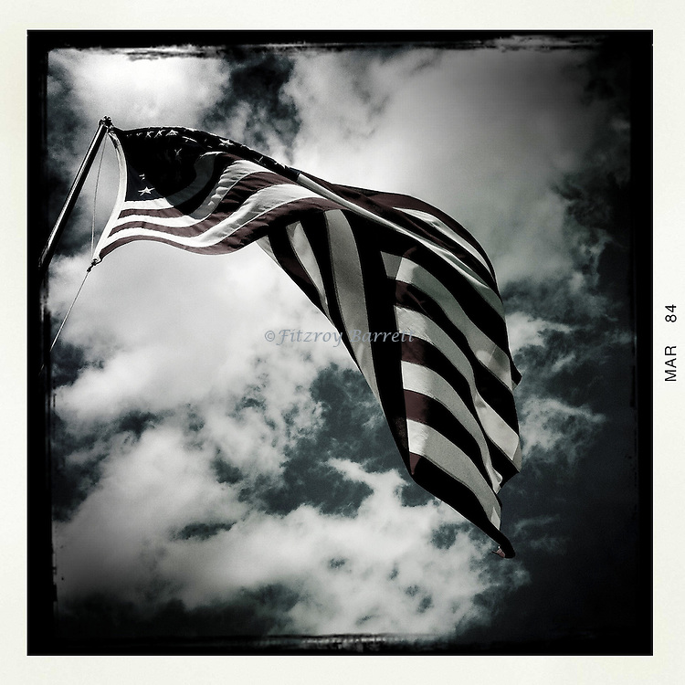 American Flag flapping in the wind Las Vegas, Nevada March 26, 2014.