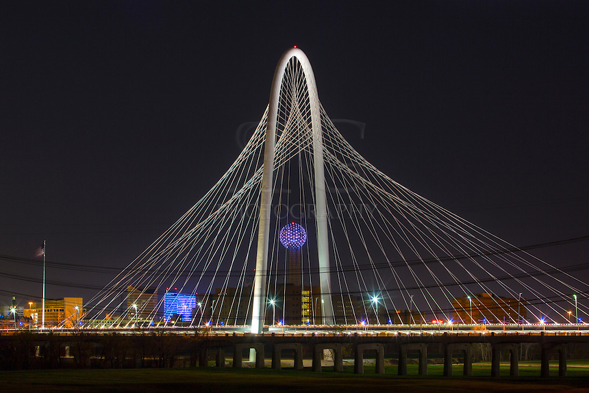 I tried to frame Reunion Tower in the midde of the arches of the Margaret Hunt Hill Bridge. This nightime scene was pretty amazing to see, maybe because it was a weekend and I didn't have to mess with evening traffic!  This print and image is also available as a vertically aligned orientation.