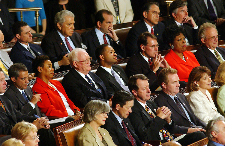 7/17/03.BRITISH PRIME MINISTER--Members listen as British Prime Minister Tony Blair addresses a joint meeting of Congress in the House chamber..CONGRESSIONAL QUARTERLY PHOTO BY SCOTT J. FERRELL
