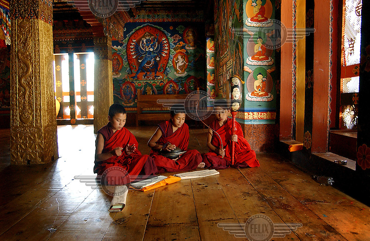 First year monks learn to play religious music on flutes and drums before they have to give musical exams to the Lama of Punakha Dzong (monastery) in Punakha, which up until 1995, was the capital of Bhutan.