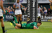 9th September 2017, Galway Sportsground, Galway, Ireland; Guinness Pro14 Rugby, Connacht versus Southern Kings; Tom Farrell (Connacht) goes over the line fore the opening try of the game in the 15th minute