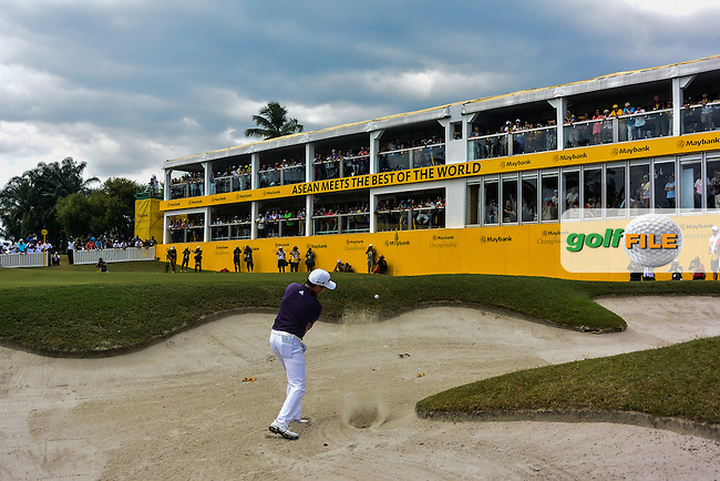David Lipsky (USA) plays out of a bunker  onto the 18th green during Round 4 of the Maybank Championship on Sunday 12th February 2017.<br /> Picture:  Thos Caffrey / Golffile<br /> <br /> All photo usage must carry mandatory copyright credit     (&copy; Golffile | Thos Caffrey)