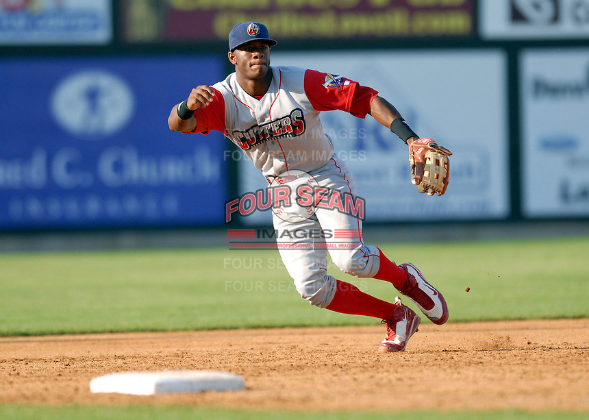 INF Anthony Hewitt of the Williamsport Crosscutters, the short season A ball affiliate of the Philadelphia Phillies,at Edward LeLacheur Park in Lowell,MA on July 18, 2009 (Photo by Ken Babbitt/Four Seam Images)